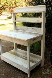 Redwood Potting Bench Love The Space For Tools From Using The Bacl Pallet Potting Bench