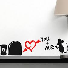 3d Bedroom Wall Paintings I Love You So Much 3d Funny Mouse Hole Wall Stickers Decals Living