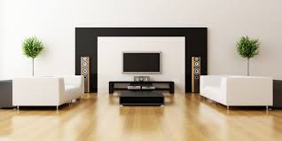 interior minimalist design with large led hifi tv and wooden