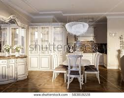 Kitchen And Dining Room Lighting Luxury Classic Interior Dining Room Kitchen Stock Illustration