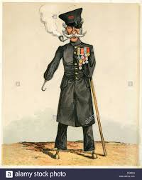 caricature of a british war veteran from the victorian era stock