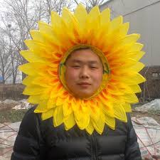 Funny Face Halloween Masks 42cm 45cm Artificial Silk Sunflower Multilayer Party Mark Flowers