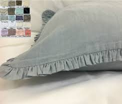 linen sham cover with petite ruffles u2013 multiple colors all sizes