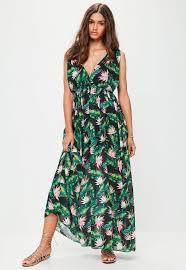white leaf print maxi dress missguided
