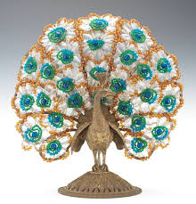 a czechoslovakian glass beaded peacock l 06 20 14 sold 1150