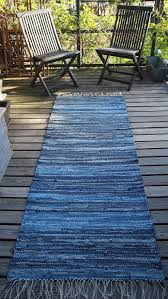 Diy Outdoor Rug With Fabric Denim Jean Woven Rug Runner Mat Outdoor Deck Camping