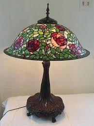 dale tiffany rose floor l vintage dale tiffany brass l with rose stained glass l shade