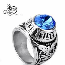 blue men rings images Stainless steel united states air force men 39 s cz military ring jpg