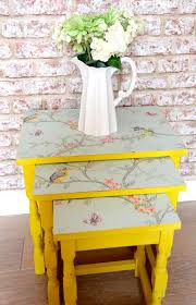 Yellow Side Table Uk Upcyled Nest Of Tables In Summer Yellow With Pastel Blue Bird And