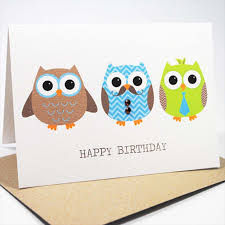 happy birthday card male 3 men owls hbm046 mum and me