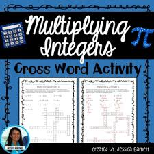 multiplying integers crossword puzzle multiplying integers