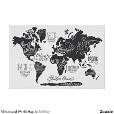 world map outline black posters zazzle and white poster in black