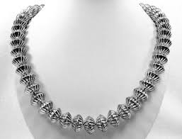 indian bead jewelry necklace images Native american calvin largo navajo sterling silver fluted beads jpg