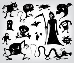 monsters ghosts and the grim reaper a collection of silhouettes
