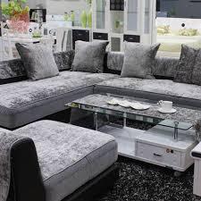 canap noir et gris style européen gris noir bleu velours housse de canapé en peluche