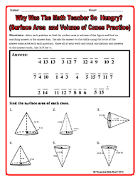 surface area and volume cones riddle worksheet by secondary math