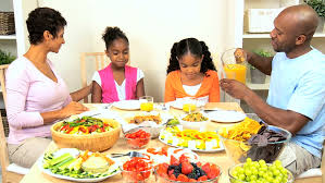 ethnic family a healthy lunch stock footage