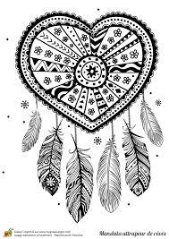 coloriage d u0027un mandala attrape rêve cœur