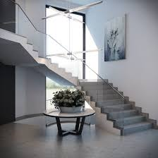 Staircase Wall Design by Concrete Staircase With Glass Banister Facing The Glass Wall Plus