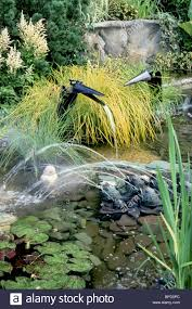 water garden with bird fountains frogs spouting streams in