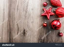 red christmas ornaments on rustic wooden stock photo 348472355
