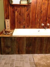 Rustic Bathrooms Rustic Bathroom Cedar Focal Wall Barn Wood Facing Around Tub
