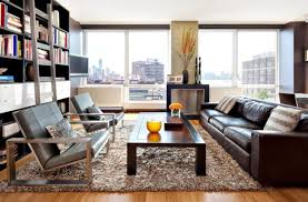 Leather Sofa In Living Room Living Room Leather Sofa Armchairs Decorating With Brown