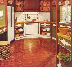 green and orange kitchen gold country girls colorful 70 u0027s