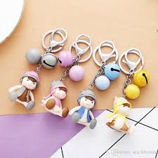 cute key rings images 2018 cute 3d boy doll bell keychain keyring key chain for kids jpg