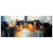 new york manhattan skyline at night impressive30x72 inch
