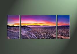3 piece purple landscape desert canvas art prints
