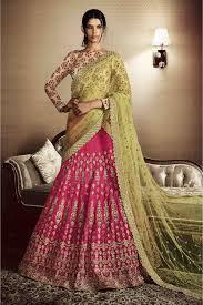pista colour net lehenga choli in rani and pista colour nc3381