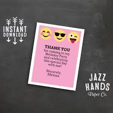 emoji birthday thank you card or insert card pink emoji birthday