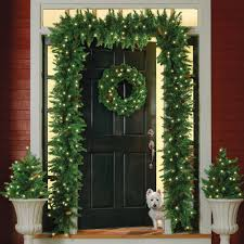 pre lit wreath pre lit christmas garland at brookstone buy now
