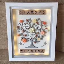 50th wedding anniversary gift led box frame scrabble golden silver diamond pearl 50th wedding
