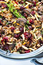 crock pot with rice cranberries and almonds