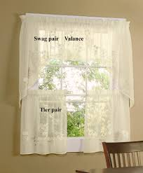 kitchen cafe curtains ideas hydrangea semi sheer tiers valance and swag