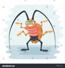 vector funny illustration cartoon cockroach sunglasses stock