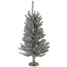 18 silver tinsel miniature tree with 140 tips metal