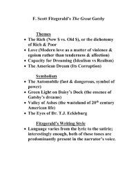 themes of wealth in the great gatsby the great gatsby