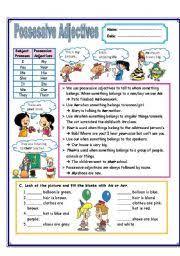 english teaching worksheets possessive adjectives