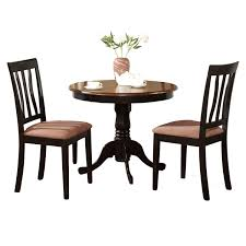 black round kitchen table plus 2 dining room chairs 3 piece dining