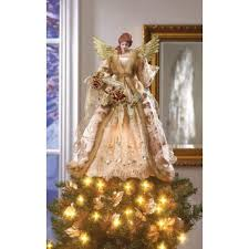 home locomotion beautiful golden christmas angel doll tree topper