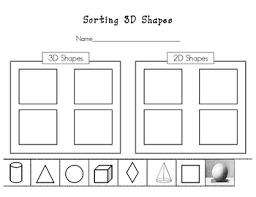 sorting 3d shapes worksheet by kinder learning garden tpt