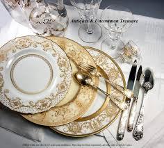 Opulent Treasure 4 Opulent Antique Royal Doulton Raised Gold Enamel U0026 Cobalt Dinner