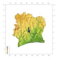 Ivory Coast Map Large Elevation Map Of Cote D U0027ivoire Cote D U0027ivoire Africa