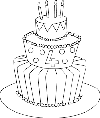 coloring page wonderful drawn birthday cake chocolate clipart