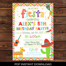 5th birthday party invitation fiesta invitation mexican party invitation fiesta birthday