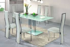 awesome glass dining table design come with stainless steel legs