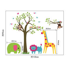 amazon com toprate tm owl cartoon animals birds monkeys on tree amazon com toprate tm owl cartoon animals birds monkeys on tree nursery wall art stickers decal for nursery home decor boys and girls children courtyard